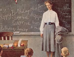 Happy Birthday, Miss Jones. Norman Rockwell, Saturday Evening Post, March 17, 1956.
